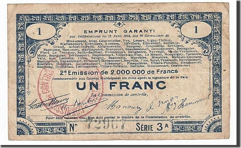 1 Franc 1915 Frankreich 70 Communes, SS, Pirot:62-70 SS