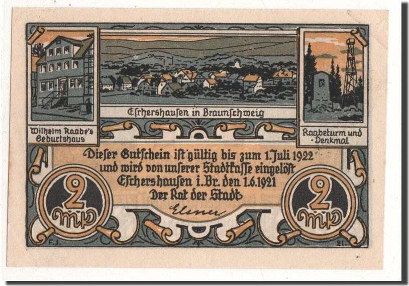 2 Mark 1921 Deutschland Eschershausen, métier, 1921-06-01, UNZ, Mehl:351 UNZ