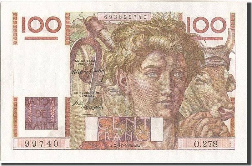100 Francs 1948 Frankreich UNC(63)