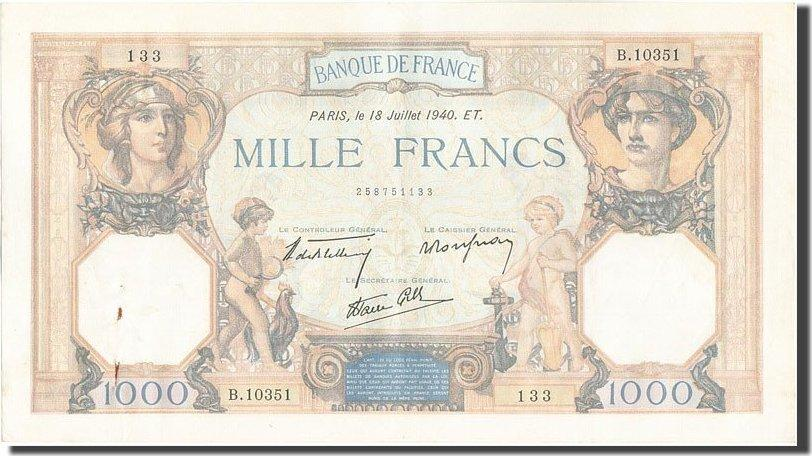 1000 Francs 1940 Frankreich AU(50-53)