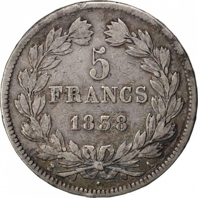 5 Francs 1838 A Frankreich FRANCE, Louis-Philippe, Paris, KM #749.1, Silver,... S