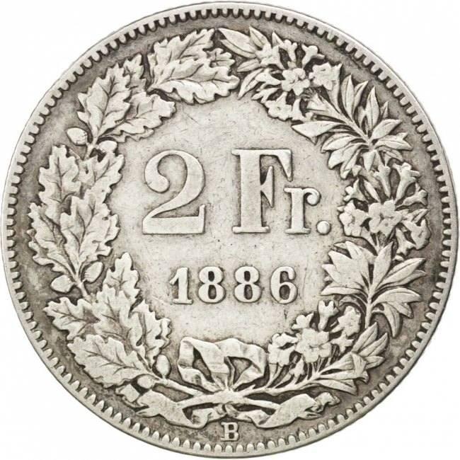 2 Francs 1886 B Schweiz VF(30-35)