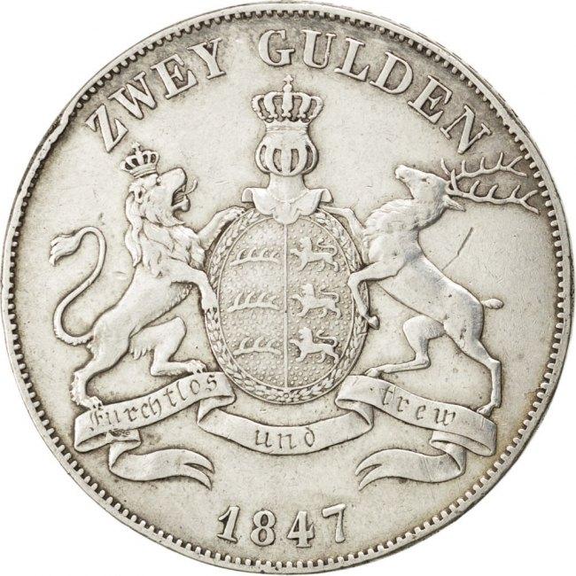 2 Gulden 1847 Deutsch Staaten Wilhelm I EF(40-45)