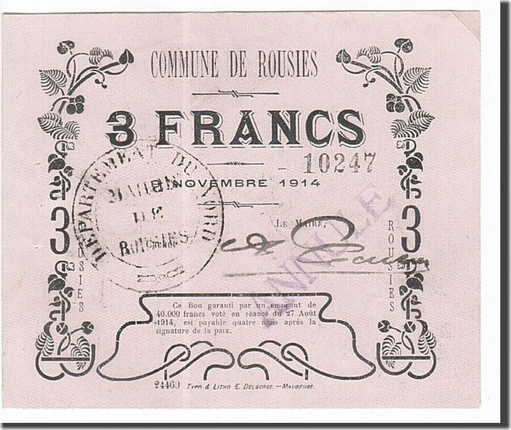 3 Francs 1914 Frankreich Rousies, SS+, ANNULE SS+