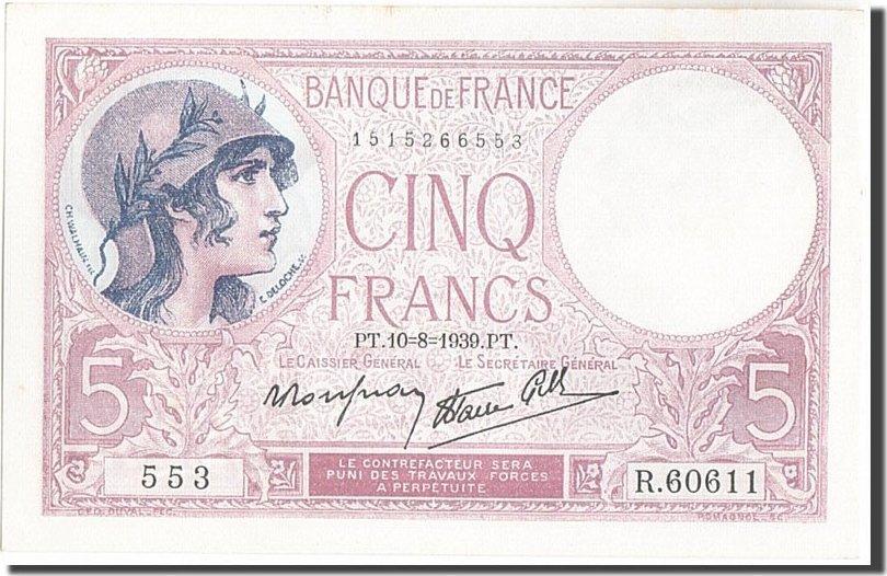 5 Francs 1939 Frankreich 5 F 1917-1940 ''Violet'', KM:83, 1939-08-10, UNZ-... UNZ-