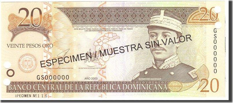 20 Pesos Oro 2003 Dominican Republic Undated, KM:169s3, UNZ UNZ