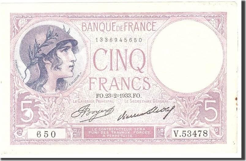 5 Francs 1933 Frankreich EF(40-45)