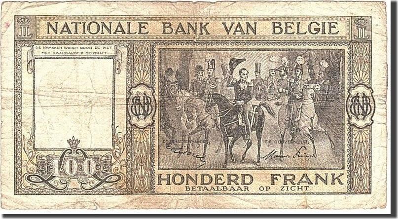 100 Francs 1949 Belgien KM:126, 1949-12-09, S S