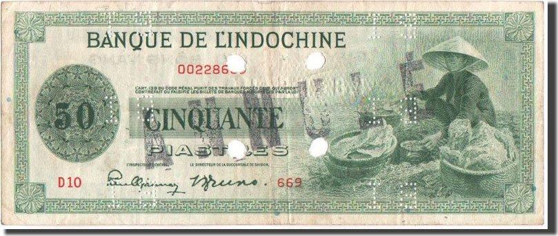50 Piastres 1941 FRENCH INDO-CHINA Französisch-Indochina, SPECIMEN, KM:77s S+