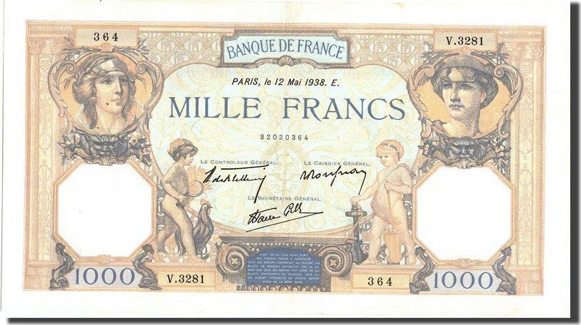 1000 Francs 1938 Frankreich 1 000 F 1927-1940 ''Cérès et Mercure'', KM:9... SS+