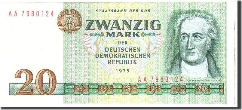 20 Mark 1975 Deutsche Demokratische Republik KM:29b, Undated, UNZ- UNZ-
