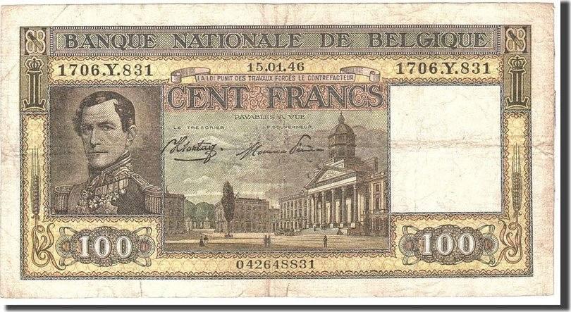 100 Francs 1946 Belgien KM:126, 1946-01-15, SS SS