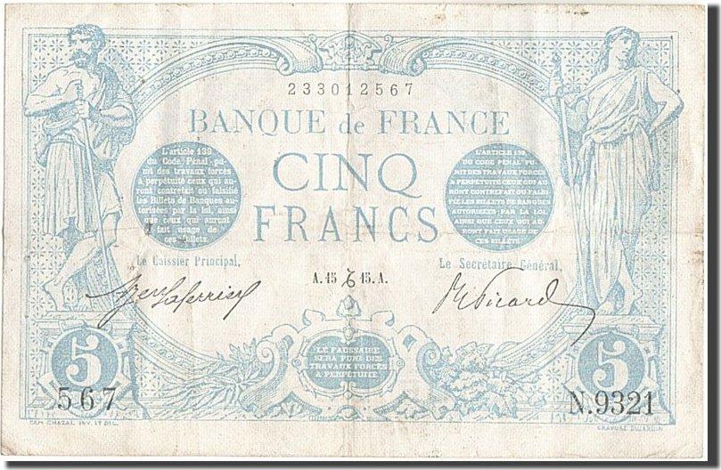 5 Francs 1915 Frankreich EF(40-45)