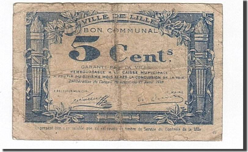 5 Centimes 1918 Frankreich Lille, S, Pirot:59-1656 S
