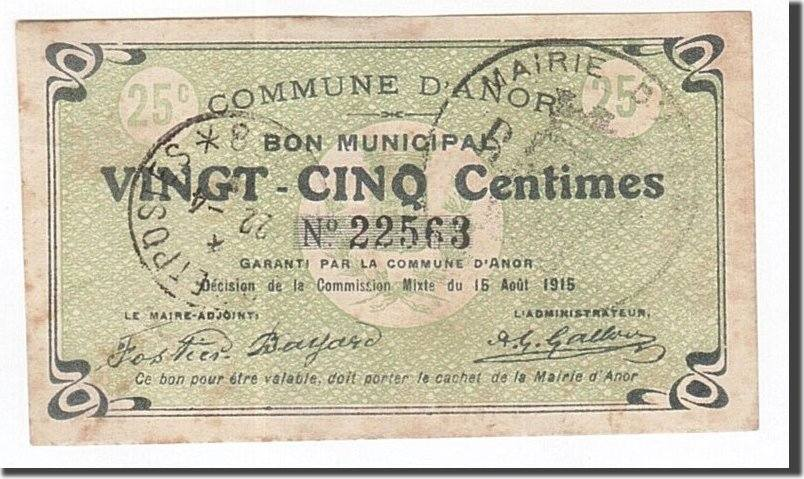 25 Centimes 1915 Frankreich Anor, SS, Pirot:59-88 SS