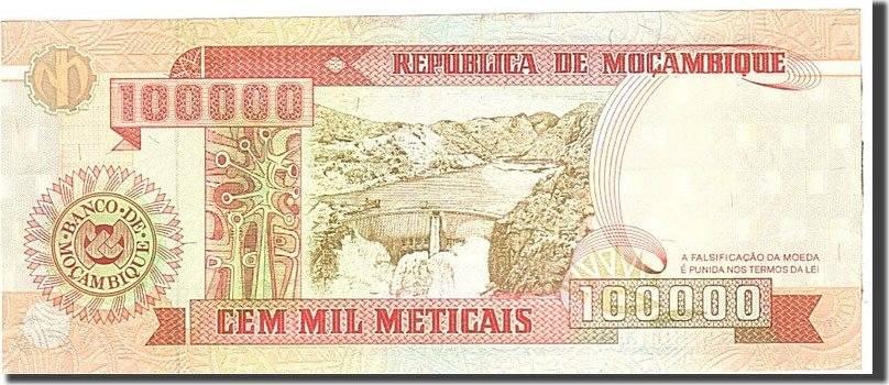 100,000 Meticais 1993 Mosambik KM:139, Undated, UNZ- UNZ-