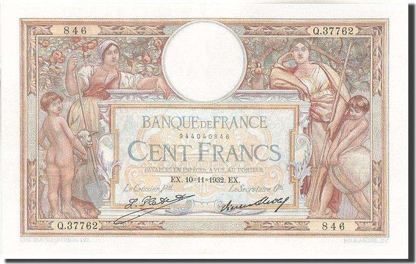 100 Francs 1932 Frankreich 100 F 1908-1939 ''Luc Olivier Merson'', KM:78b,... VZ+
