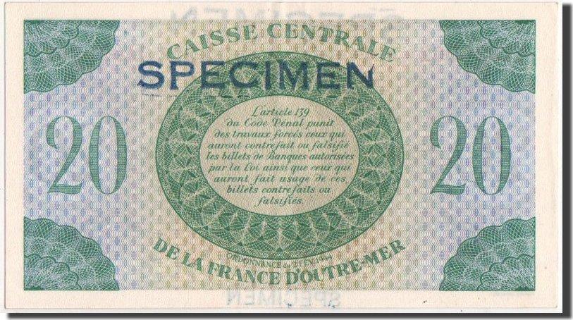 20 Francs 1944 Guadeloupe 2.2.1944, SPECIMEN, KM:28s VZ