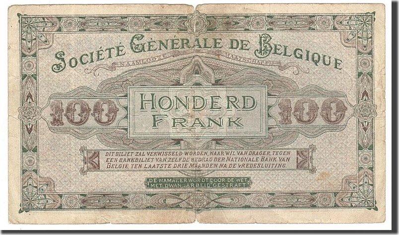 100 Francs 1914 Belgien VF(20-25)