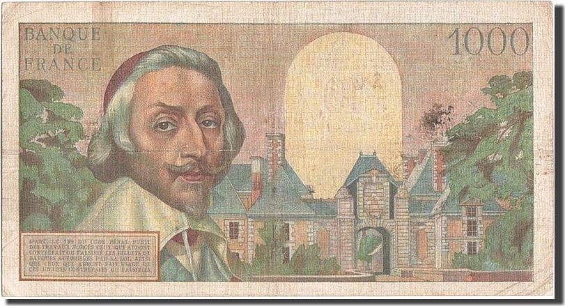 10 Nouveaux Francs on 1000 Francs 1957 Frankreich 1955-1959 Overprinted with ''N... S+