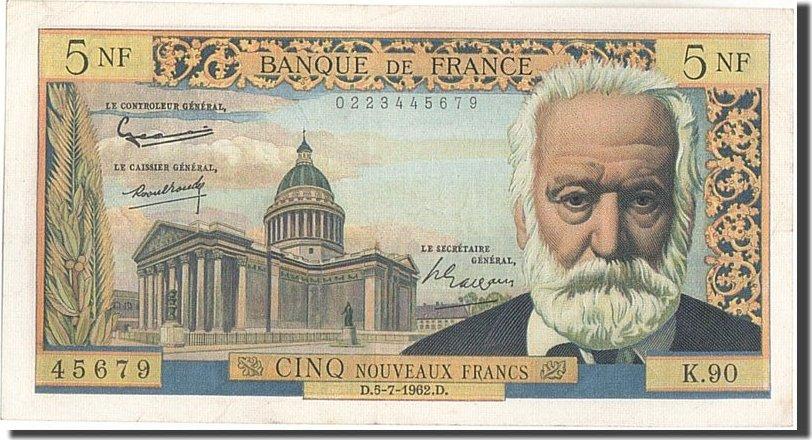 5 Nouveaux Francs 1962 Frankreich 5 NF 1959-1965 ''Victor Hugo'', KM:141a,... VZ