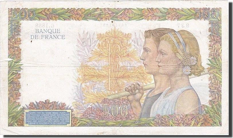 500 Francs 1939 Frankreich VF(20-25)