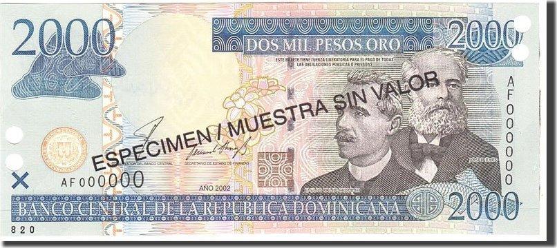 2000 Pesos Oro 2002 Dominican Republic KM:174s1, Undated, UNZ UNZ