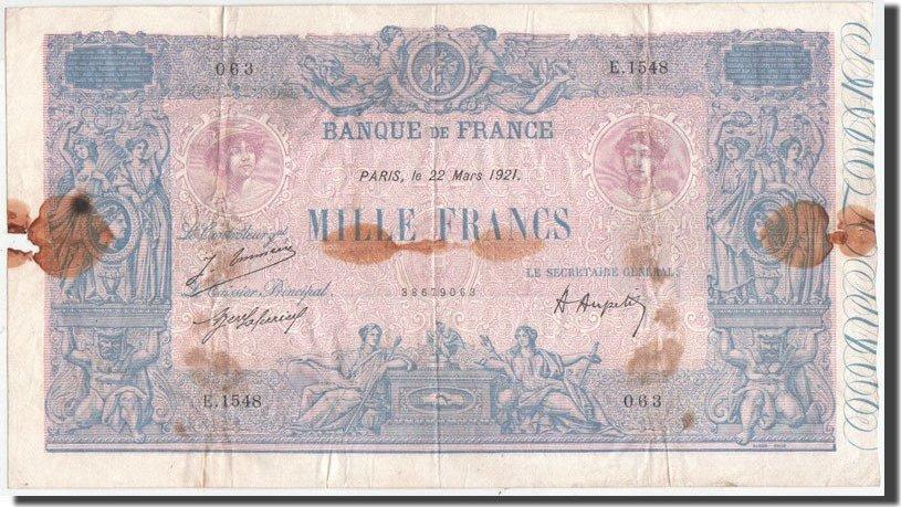 1000 Francs 1921 Frankreich VF(20-25)