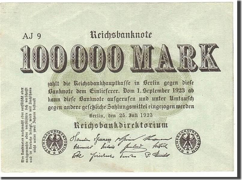 100,000 Mark 1923 Deutschland KM:91a, 1923-07-25, UNZ- UNZ-