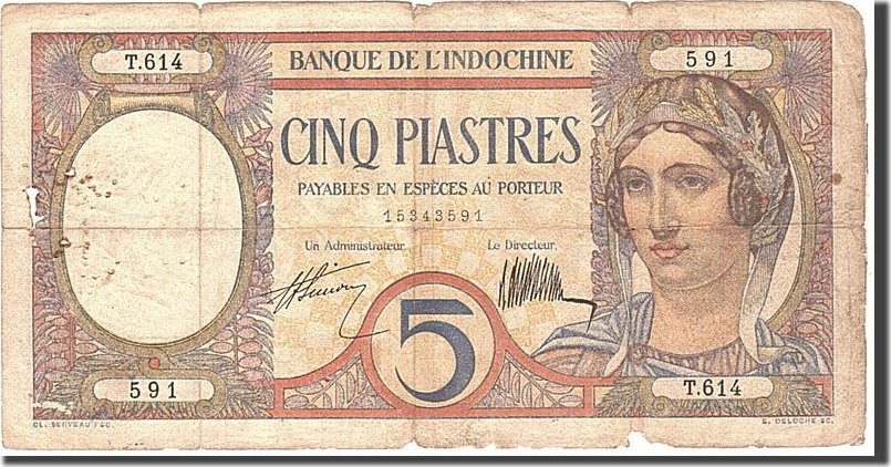5 Piastres 1927 FRENCH INDO-CHINA Undated, KM:49b, S S