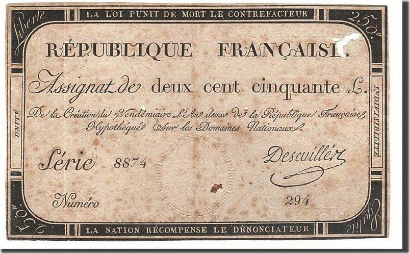 250 Livres 1793 Frankreich VF(20-25)