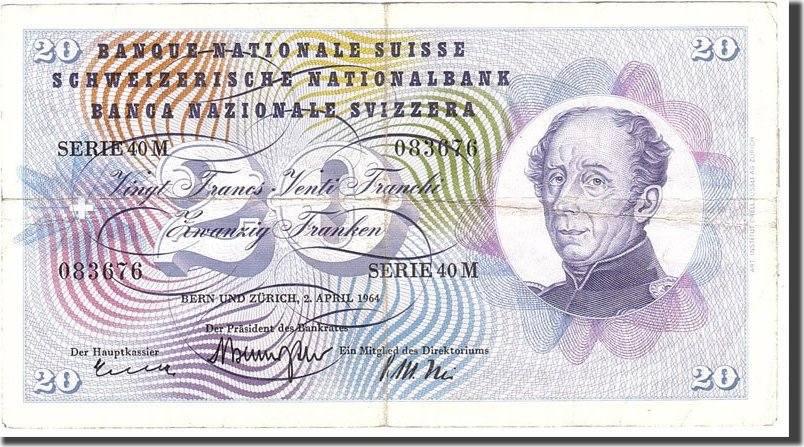 20 Franken 1964 Schweiz KM:46k, 1964-04-02, S+ S+