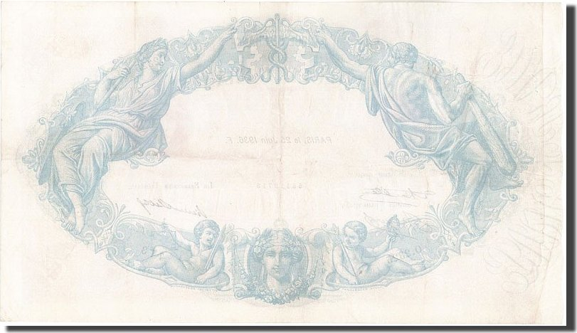 500 Francs 1936 Frankreich 500 F 1888-1940 ''Bleu et Rose'', KM:66m, 1936-... SS+