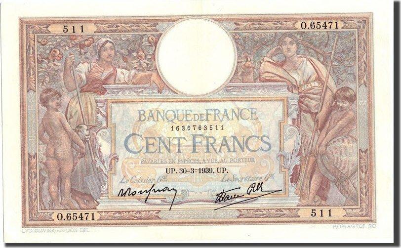 100 Francs 1939 Frankreich 100 F 1908-1939 ''Luc Olivier Merson'', KM:86b,... UNZ-