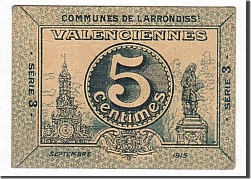 5 Centimes 1915 Frankreich Valenciennes, SS+, Pirot:59-3242 SS+