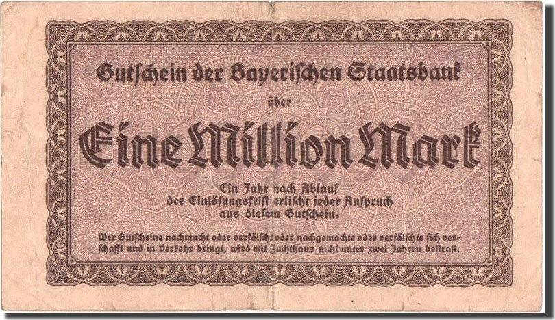 1 Million Mark 1923 Deutschland Munich, Bayerische Staatsbank, Munich S
