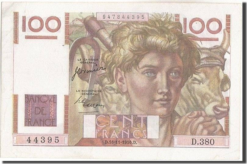 100 Francs 1950 Frankreich 100 F 1945-1954 ''Jeune Paysan'', KM:128c, 1950... SS+