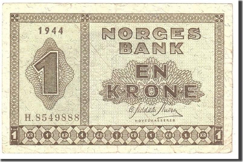 1 Krone 1944 Norwegen KM:15a, Undated S