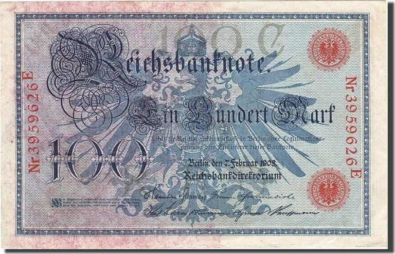 100 Mark 1908 Deutschland KM:34, 1908-02-07, UNZ- UNZ-