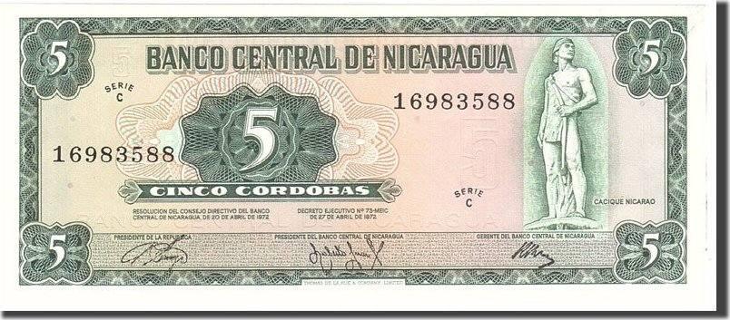 5 Cordobas 1972 Nicaragua UNC(65-70)