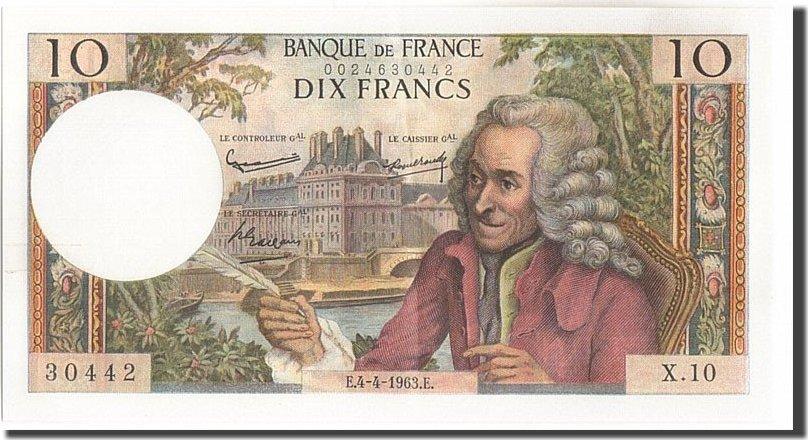 10 Francs 1963 Frankreich 10 F 1963-1973 ''Voltaire'', KM:147a, 1963-04-04... UNZ-