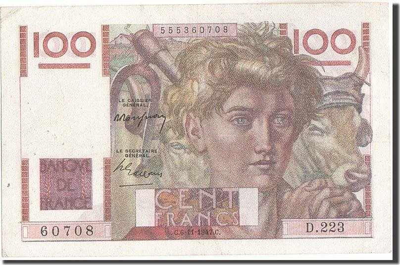 100 Francs 1947 Frankreich 100 F 1945-1954 ''Jeune Paysan'', KM:128b, 1947... SS