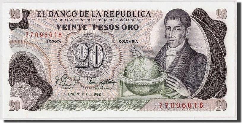 20 Pesos Oro 1982 Kolumbien 1982-01-01, KM:409d, UNZ UNZ