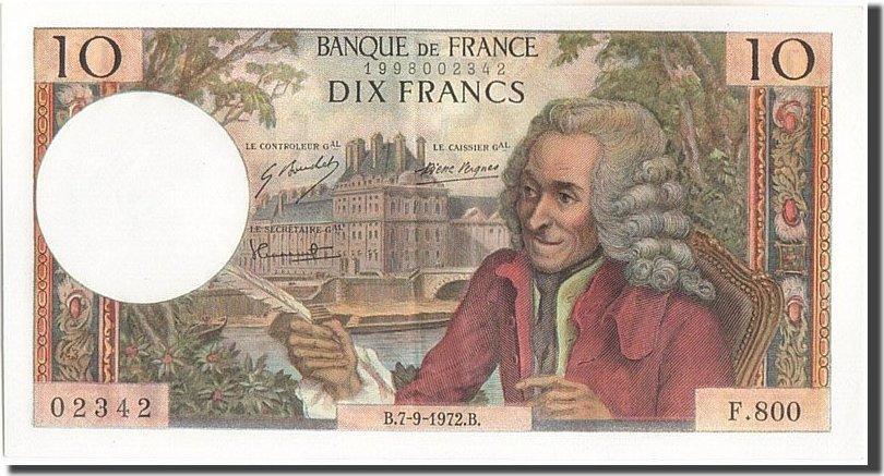 10 Francs 1972 Frankreich 10 F 1963-1973 ''Voltaire'', KM:147d, 1972-09-07... UNZ-
