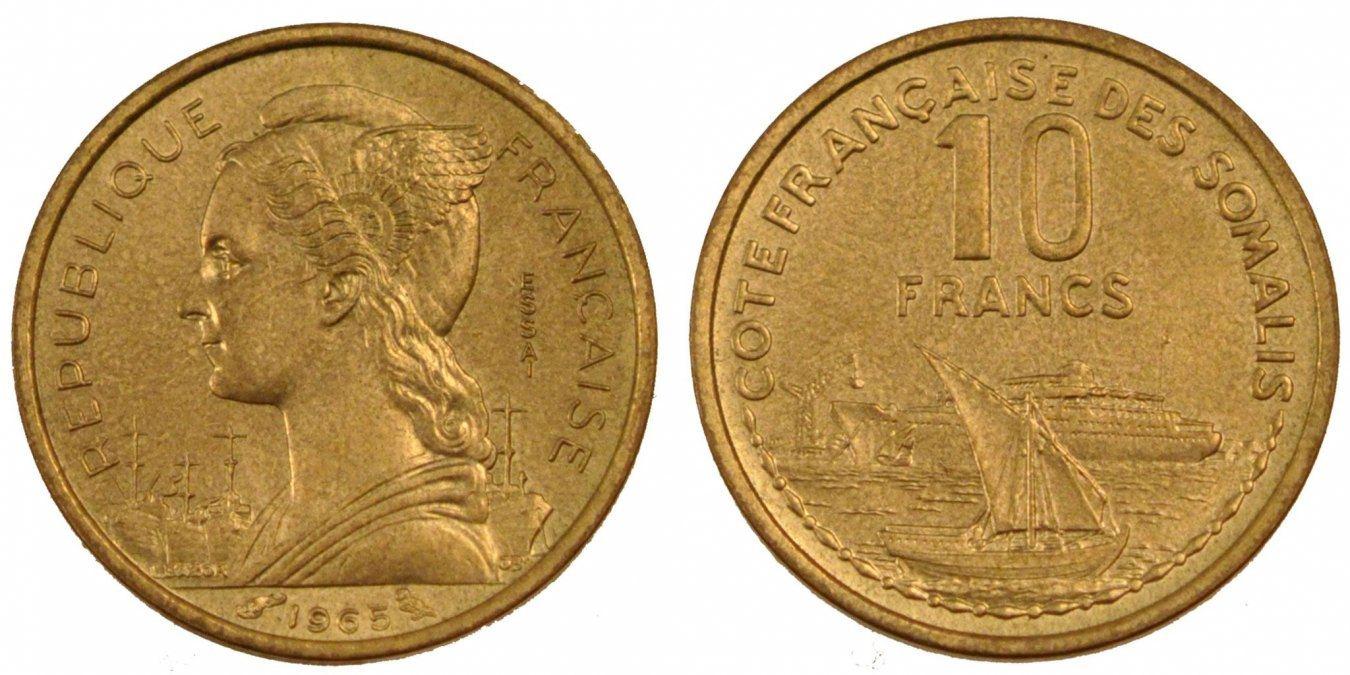 10 Francs 1965 (a) Französisch-Somaliland MS(65-70)