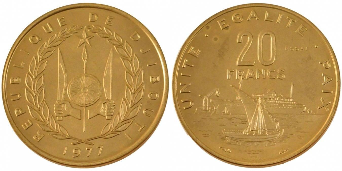 20 Francs 1977 Dschibuti MS(65-70)