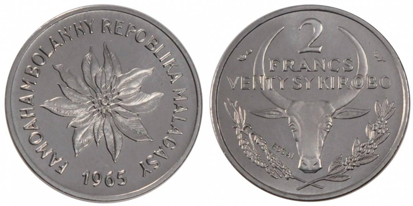 2 Francs 1965 (a) Madagascar MS(65-70)