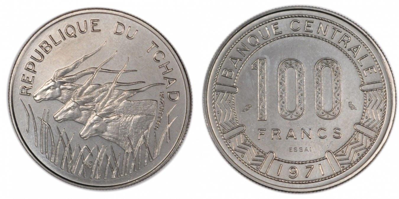 100 Francs 1971 (a) Chad MS(65-70)