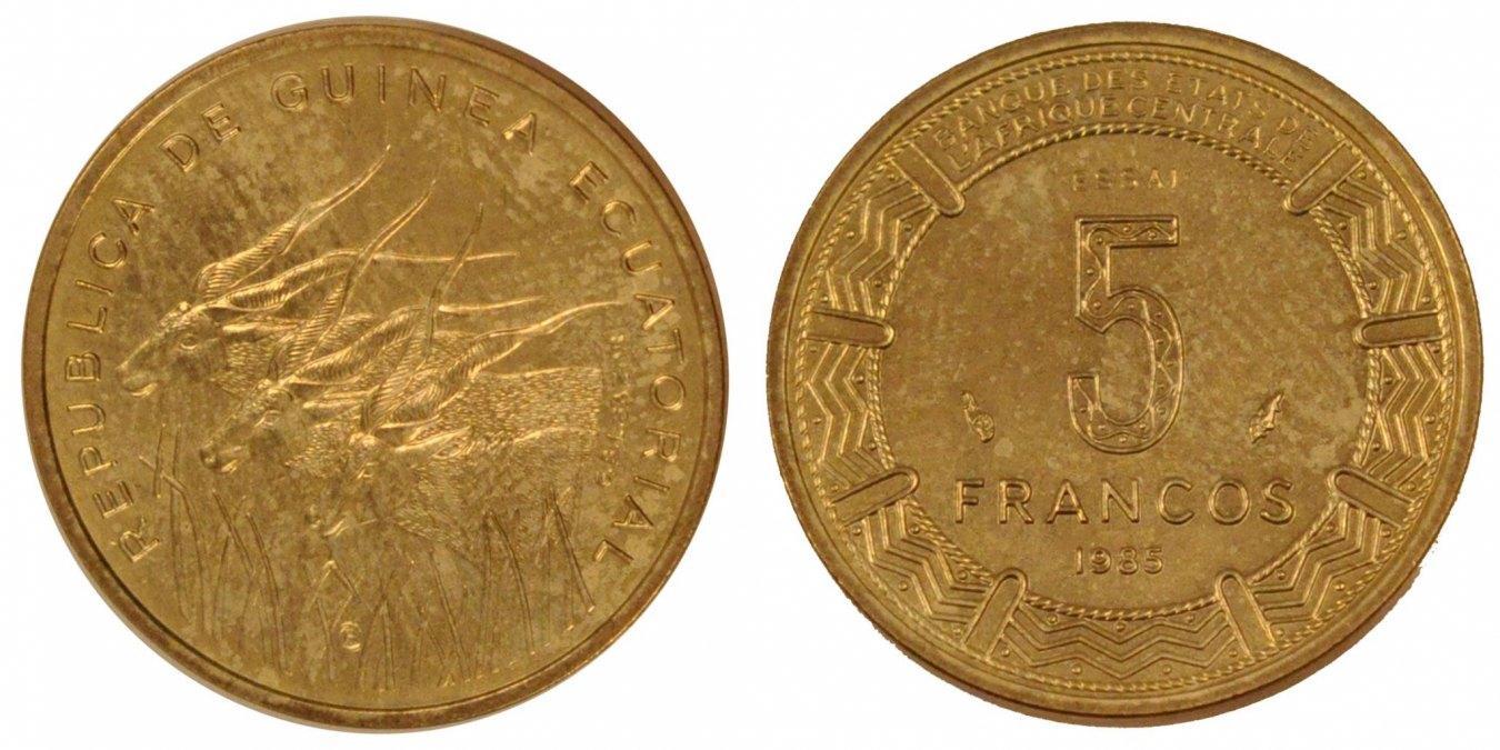 5 Francos 1985 Equatorial Guinea MS(65-70)