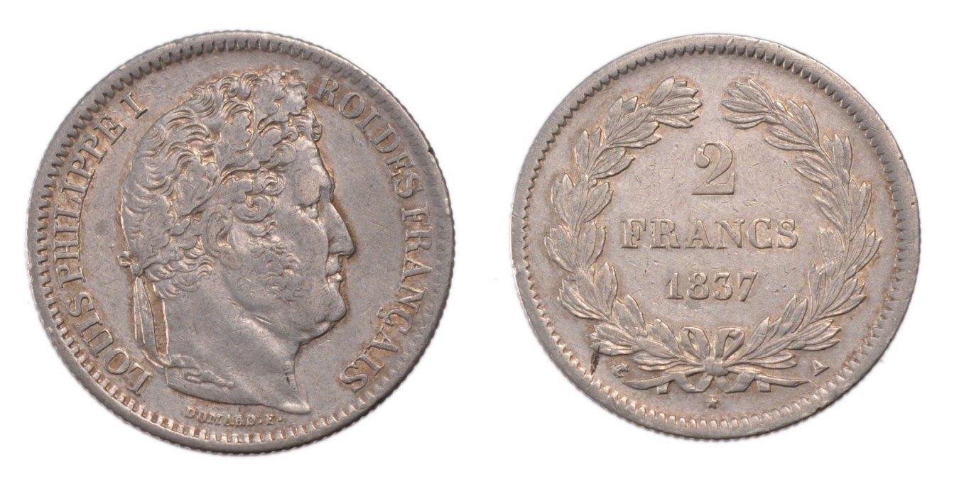 2 Francs 1837 A Frankreich Louis-Philippe AU(50-53)